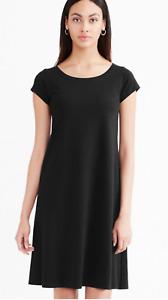 NWT Eileen Fisher Black Organic Cotton Ballet Neck Dress Sz Petite Large PL NEW