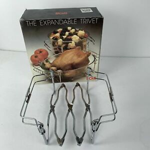 "Vintage ROSTI Expandable Chrome Trivet Casserole Dish Holder - expands 8"" to 18"""