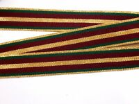 Christmas Burgundy, Green, Gold Stripe Grosgrain Ribbon 7/8 inch wide x 50 yards