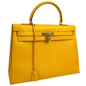 Authentic HERMES KELLY 35 Hand Bag Yellow Veau Greine Courchevel JT06634b