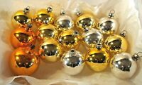 15 Vintage Glass Christmas Ornaments Solid Balls Silvered Gold Yellow mixed