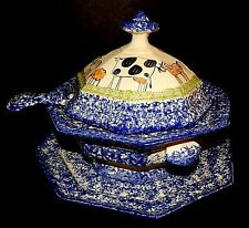 Cows Molly Dallas Spatterware Blue Covered Tureen Ladle Plate Rimmed Art Pottery
