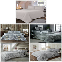 Flannel Range Grey Duvet Cover Thermal Bedding Set Reversible Quilt Double King