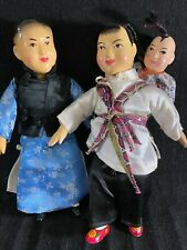 Vintage Composition Dolls-China-Father/Mother/Baby-Beautiful Faces/Clothes-SALE
