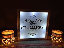 Personalised Mr & Mrs sign Freestanding Top Table Wedding Light Box Party Gift