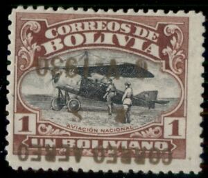 BOLIVIA #C18a, 1b Zeppelin with gold INVERTED OVPT, hinged, signed, Scott $1,750