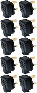 Heavy Duty Rubber Permaplug Hard Plug Top Black 13A Fused 3 Pin - Pack of 10