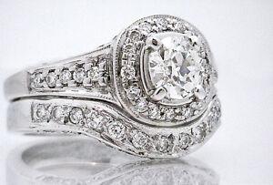 $10,500 2ct 18K White Gold Diamond Engagement Set w/ .70ct EGL CERT VVS2 Center
