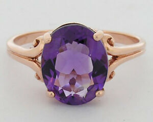 s R080 Genuine 9K Rose Gold Natural Oval Amethyst Ring Solitaire Ring size P