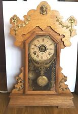 Working Antique Seth Thomas Kitchen, Shelf, Mantle Alarm Clock, Oak Gingerbread