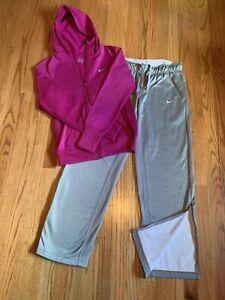 EUC Women's NIKE Pink Grey Therma Fit Warm Up Small Jacket Medium Pant Set