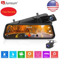 "Junsun Backup Camera 10"" Mirror Dash Cam Touch Screen HD1080P Rearview Dual Lens"