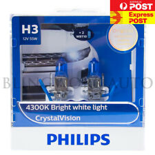 (FREE T10 PARKERS) PHILIPS H3 CRYSTAL VISION 4000K 12V 55W WHITE HALOGEN BULBS