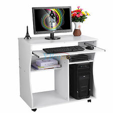 Wooden Computer Desk PC Study Table Home Office Space Saving Desk With Shelf UK
