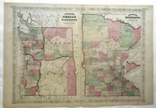 Minnesota Oregon Washington Twin Cities Portland Seattle c. 1866 Johnson map