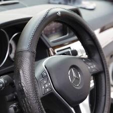 "New Black 14.5""-15"" Genuine Leather Steering Wheel Cover 7469 Crocodile Style"
