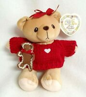 """Cherished Teddies Plush Cookie Gingerbread Christmas Girl Red Sweater Heart 7"""""""