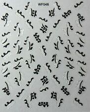 Accessoire ongles : nail art - Stickers autocollants, motifs noirs