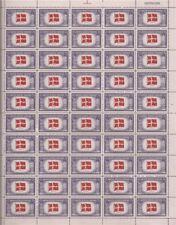 US Stamp - 1943 Overrun Country Denmark - 50 Stamp Sheet - Scott #920