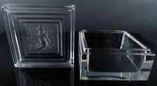 Signed LALIQUE Frosted Crystal Glass Nude Duncan Jewellery Trinket Dresser Box