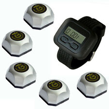 SINGCALL Wireless Waiter Systems, 5 Single Button Bells and 1 Mobile Receiver