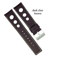 Padded Leather Rally Racing Tropic Watch Strap Band Mens fits Seiko and Omega