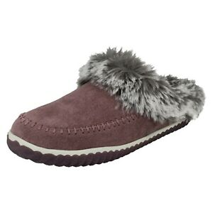 HOME2 SOFT LADIES CLARKS SLIP ON SUEDE WARM COSY FUR LINED SLIPPERS SHOES SIZE