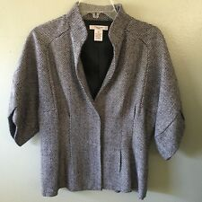 vertigo blazer M black white tweed 3/4 sleeve jacket - size medium