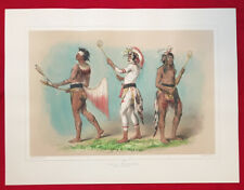 Ball Players, George Catlin,Original Lithograph,Limited Edition 1970 Handcolored