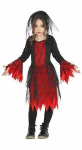 Girls Gothic Vamp Costume + Veil Halloween Horror Fancy Dress Childrens Outfit