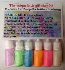 6 iridescent cosmetic glitter puffers Top up your glitter tattoo kit facepaint
