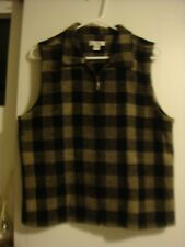 CHRISTOPHER BANKS Brown Gray Tan Beige Buffalo Check L Zip Up Sleeveless Vest