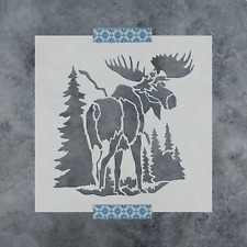 Moose in The Woods Stencil - Durable & Reusable Mylar Stencils