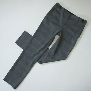 NWT Ann Taylor The Straight in Dark Charcoal Plaid Full Length Trouser Pants 4