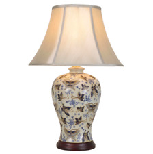 Oriental Chinese Ceramic Porcelain Table Lamp Butterflies