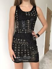 New Embellished Bodycon Stretch Black Dress UK 8 Party Nights Out