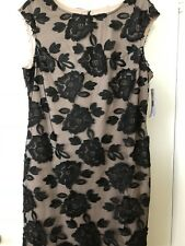 New, Donna Ricco Lace Overlay Lined Dress, Black/Nude, Capped Sleeves, Size 16