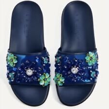 ZARA BLUE SLIPPERS SANDALS MULES WITH EMBOSSED FLORAL DECORATION sz 39/9