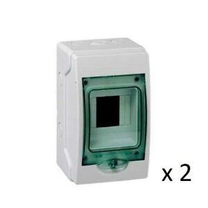 2 x Schneider Kaedra 13441 4 Module MCB Mini Enclosure Weather Proof IP65 13441