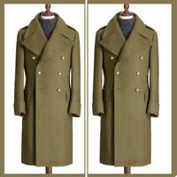 Wool Army Green Overcoat Long Coat Jacket Men Suits Party Dinner Formal Tuxedos
