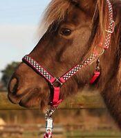 Halfter-Set, Stallhalfter + Strick UNICORN für Pony Shetty Minishetty pink/blau