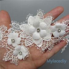 1pcs Vintage Flower Diamond Lace Edge Trim Wedding Ribbon Applique Crochet Patch