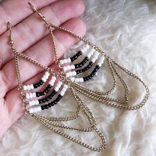 Gold Chains Dangle Drop Hook Earrings Vintage Womens Bohemian Black White Beads