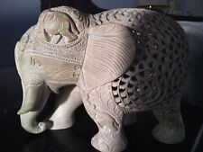"10"""" Marble Handcrafted With Lattice Elephant Statue"
