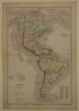 AMERICAN CONTINENT 1873 DRIOUX & LEROY ANTIQUE ORIGINAL COPPER ENGRAVED MAP