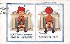 POSTCARD  COMIC   CHILDREN   As  Mr McTavish is in front of the clock.......