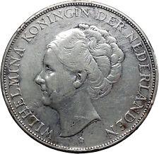 1938 Netherlands Queen WILHELMINA 2 1/2 Gulden Large Silver Coin i45531
