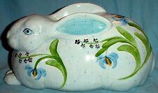 "Bunny Rabbit Figurine Easter Porcelain Pale Blue w Irises/ 5"" x 10"""