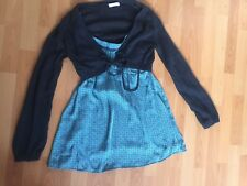 PROMOD WOMENS DESIGNER BLUE STRAPY MINI DRESS ATTACHED KNIT CARDIGAN SZ 8-10 UK