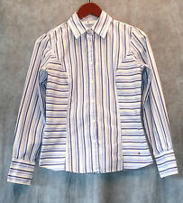 TOMMY HILFIGER womens long sleeve shirt-button down-sz 4-striped-cotton